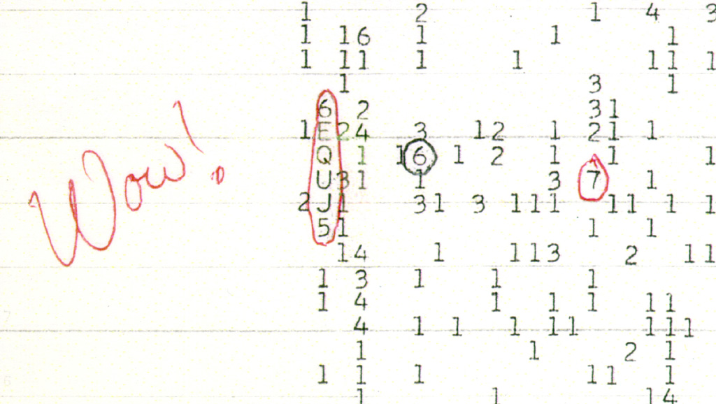 Wow! signal, original printout with Ehman's handwritten exclamation<br />Credit: Big Ear Radio Observatory and North American AstroPhysical Observatory (NAAPO)<br />see http://www.bigear.org/Wow30th/wow30th.htm wowcl.jpg