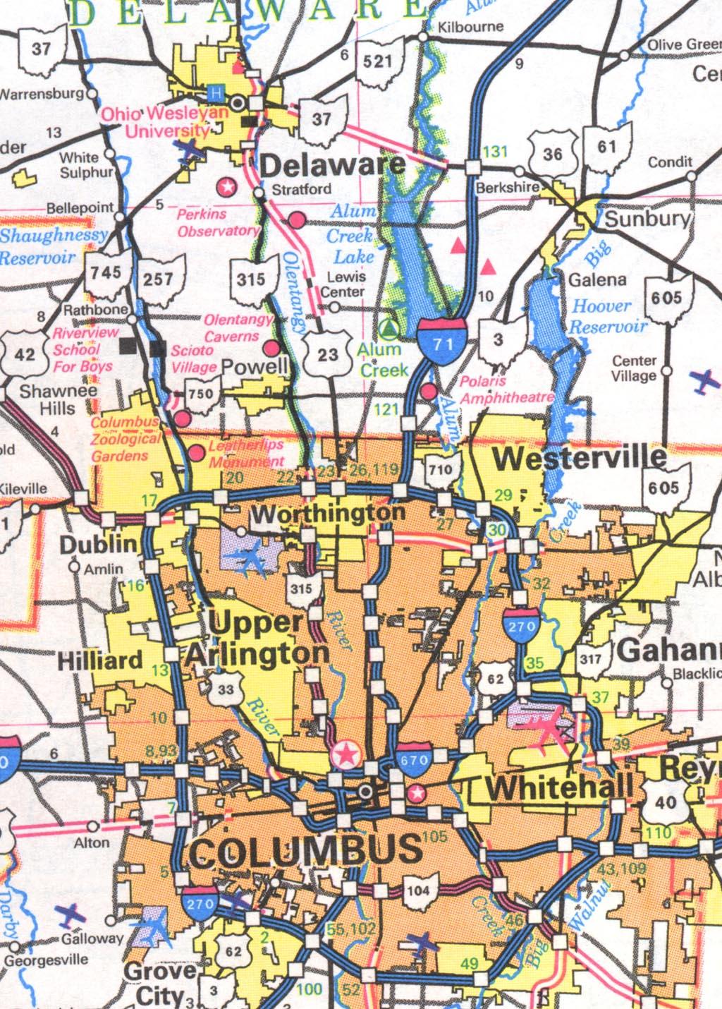 columbus ohio city map illinois map
